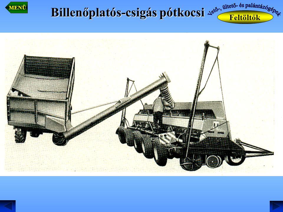 Billenőplatós-csigás pótkocsi Feltöltők MENÜ