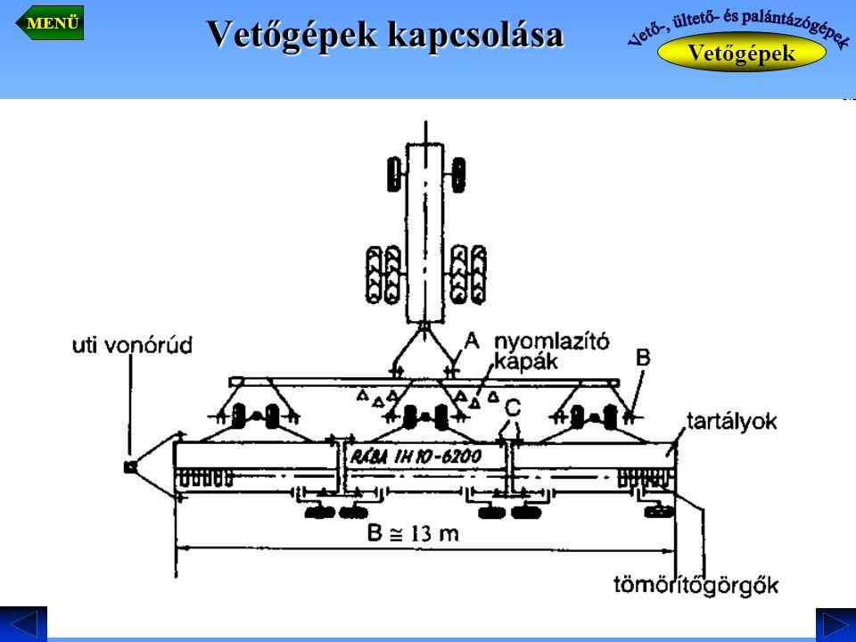 Vetőgépek kapcsolása Vetőgépek MENÜ