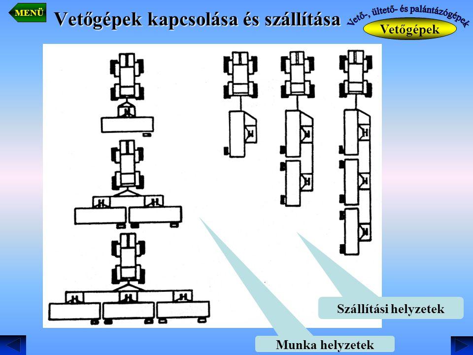 Vetőgépek kapcsolása és szállítása Munka helyzetek Szállítási helyzetek Vetőgépek MENÜ