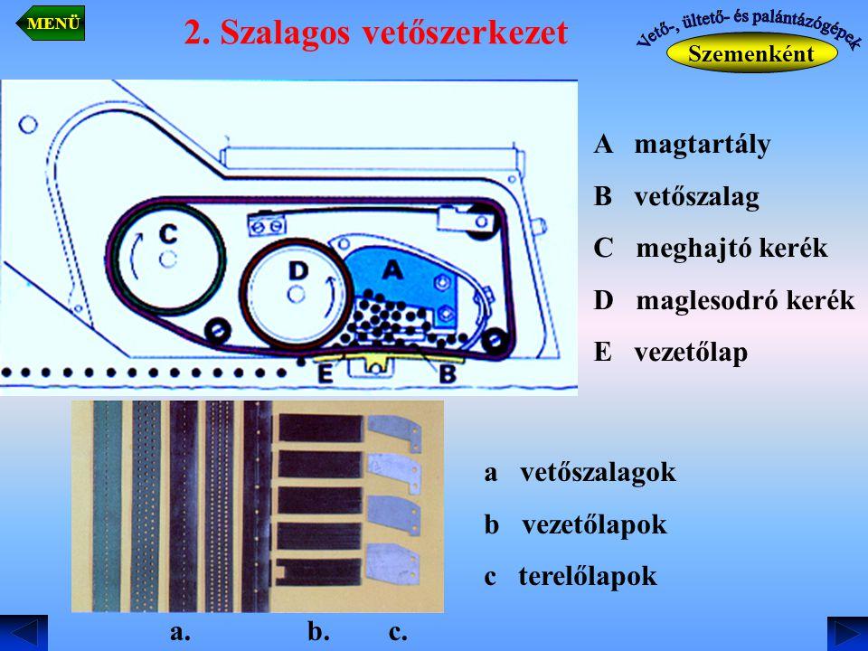 2. Szalagos vetőszerkezet Szemenként MENÜ A magtartály B vetőszalag C meghajtó kerék D maglesodró kerék E vezetőlap a vetőszalagok b vezetőlapok c ter