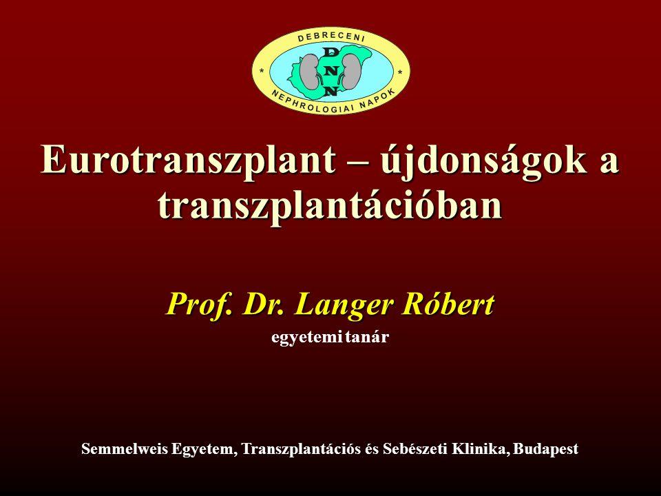 Eurotranszplant – újdonságok a transzplantációban Prof. Dr. Langer Róbert egyetemi tanár Semmelweis Egyetem, Transzplantációs és Sebészeti Klinika, Bu