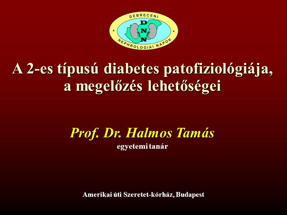 A 2-es típusú diabetes patofiziológiája, a megelőzés lehetőségei Amerikai úti Szeretet-kórház, Budapest egyetemi tanár Prof. Dr. Halmos Tamás