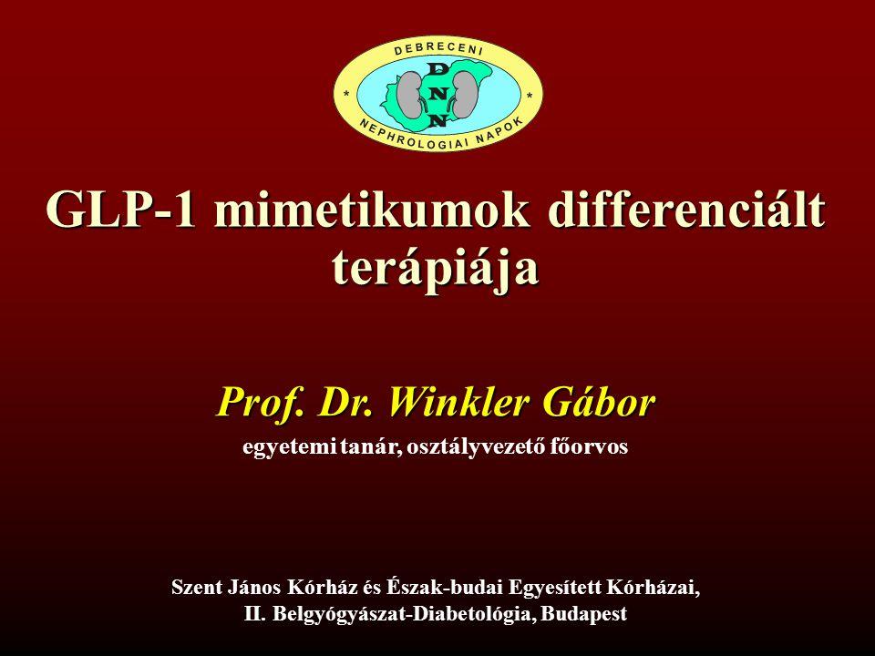 GLP-1 mimetikumok differenciált terápiája Szent János Kórház és Észak-budai Egyesített Kórházai, II. Belgyógyászat-Diabetológia, Budapest egyetemi tan