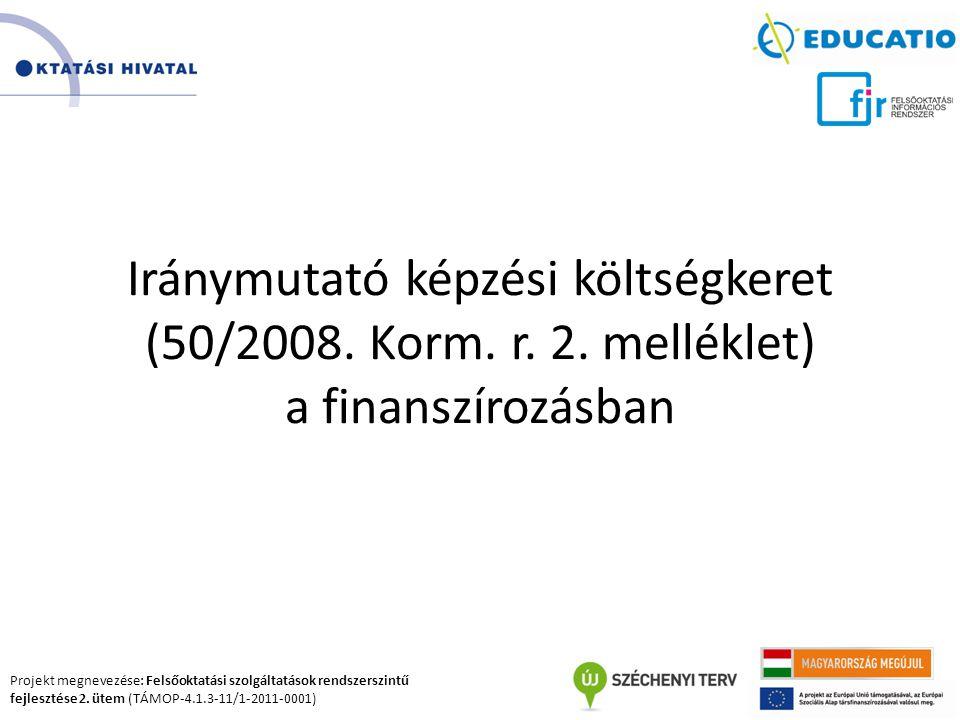 Projekt megnevezése: Felsőoktatási szolgáltatások rendszerszintű fejlesztése 2. ütem (TÁMOP-4.1.3-11/1-2011-0001) Iránymutató képzési költségkeret (50