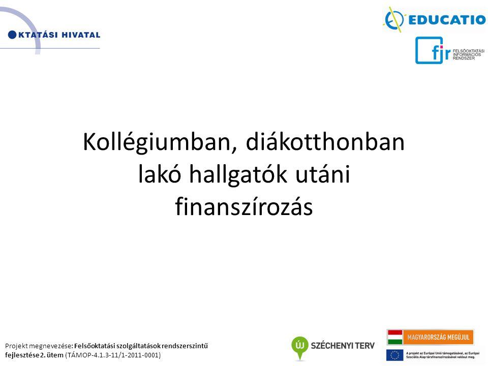 Projekt megnevezése: Felsőoktatási szolgáltatások rendszerszintű fejlesztése 2. ütem (TÁMOP-4.1.3-11/1-2011-0001) Kollégiumban, diákotthonban lakó hal