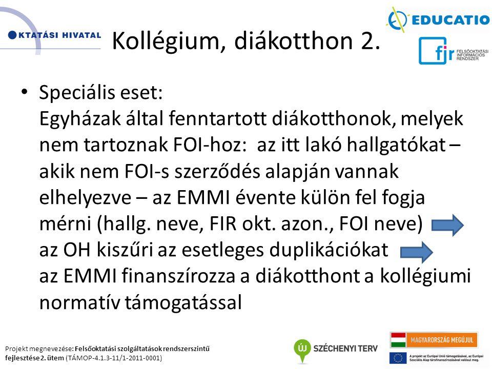 Projekt megnevezése: Felsőoktatási szolgáltatások rendszerszintű fejlesztése 2. ütem (TÁMOP-4.1.3-11/1-2011-0001) Kollégium, diákotthon 2. Speciális e