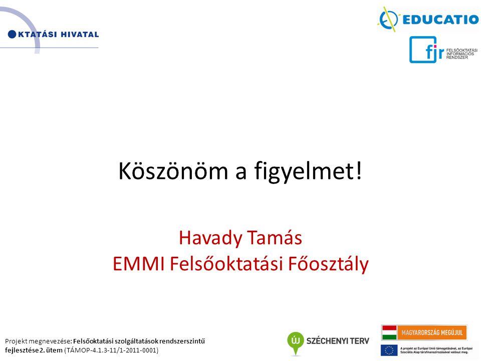 Projekt megnevezése: Felsőoktatási szolgáltatások rendszerszintű fejlesztése 2. ütem (TÁMOP-4.1.3-11/1-2011-0001) Köszönöm a figyelmet! Havady Tamás E