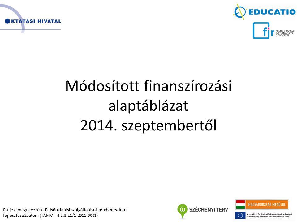Projekt megnevezése: Felsőoktatási szolgáltatások rendszerszintű fejlesztése 2. ütem (TÁMOP-4.1.3-11/1-2011-0001) Módosított finanszírozási alaptábláz