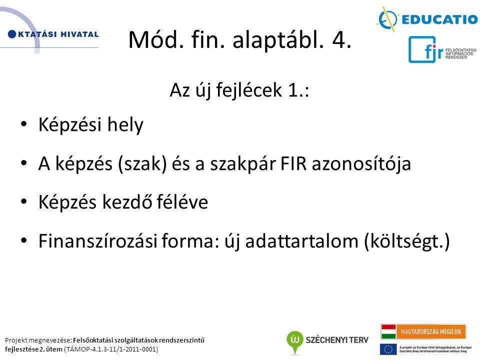 Projekt megnevezése: Felsőoktatási szolgáltatások rendszerszintű fejlesztése 2. ütem (TÁMOP-4.1.3-11/1-2011-0001) Mód. fin. alaptábl. 4. Az új fejléce