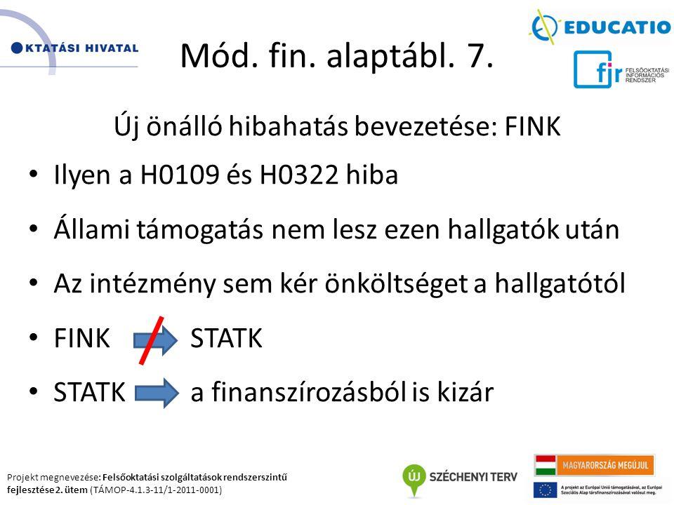 Projekt megnevezése: Felsőoktatási szolgáltatások rendszerszintű fejlesztése 2. ütem (TÁMOP-4.1.3-11/1-2011-0001) Mód. fin. alaptábl. 7. Új önálló hib