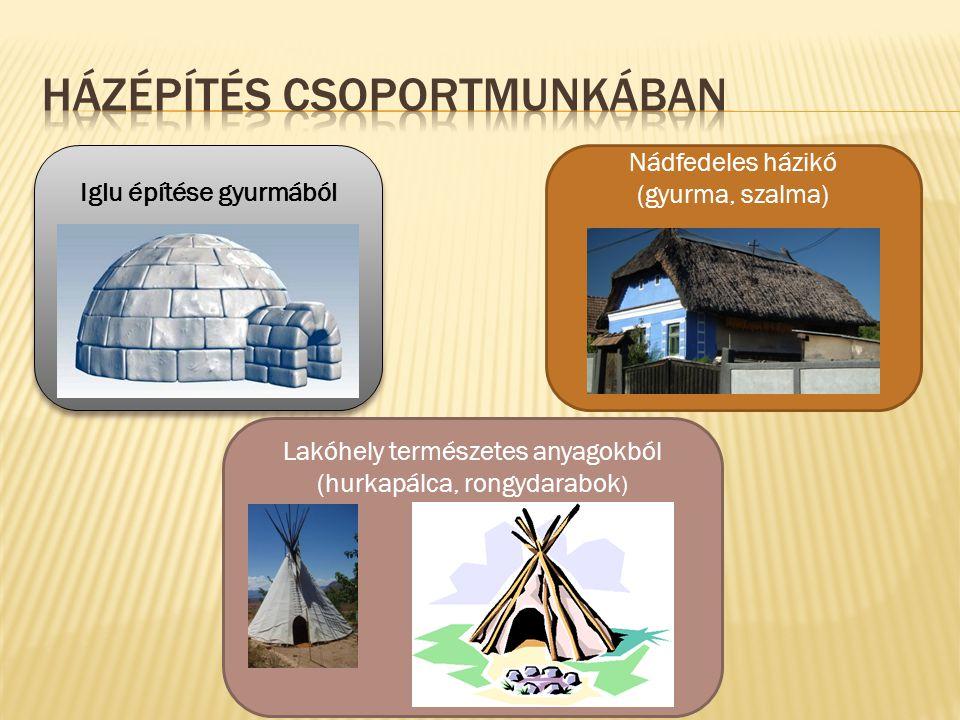 Iglu építése gyurmából Lakóhely természetes anyagokból (hurkapálca, rongydarabok ) Nádfedeles házikó (gyurma, szalma)