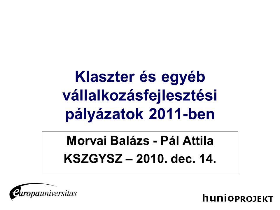 Klaszter és egyéb vállalkozásfejlesztési pályázatok 2011-ben Morvai Balázs - Pál Attila KSZGYSZ – 2010. dec. 14.