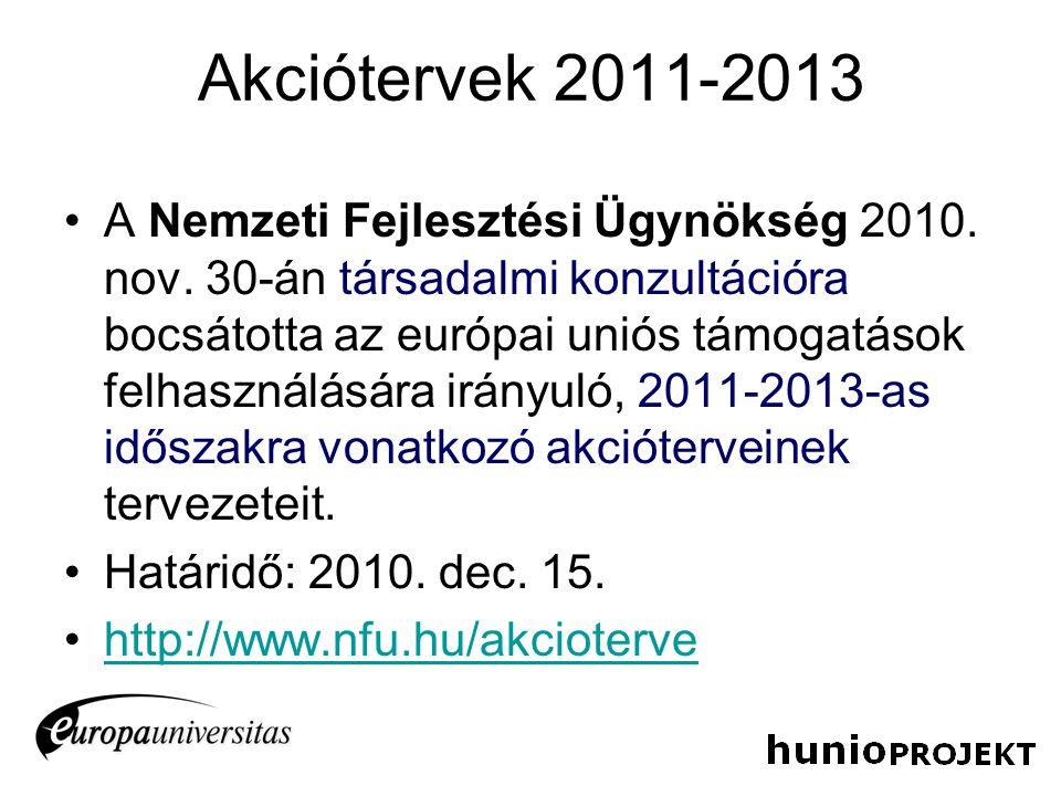 Akciótervek 2011-2013 A Nemzeti Fejlesztési Ügynökség 2010. nov. 30-án társadalmi konzultációra bocsátotta az európai uniós támogatások felhasználásár