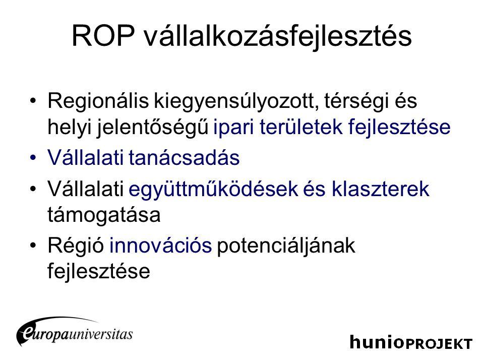 ROP vállalkozásfejlesztés Regionális kiegyensúlyozott, térségi és helyi jelentőségű ipari területek fejlesztése Vállalati tanácsadás Vállalati együttm