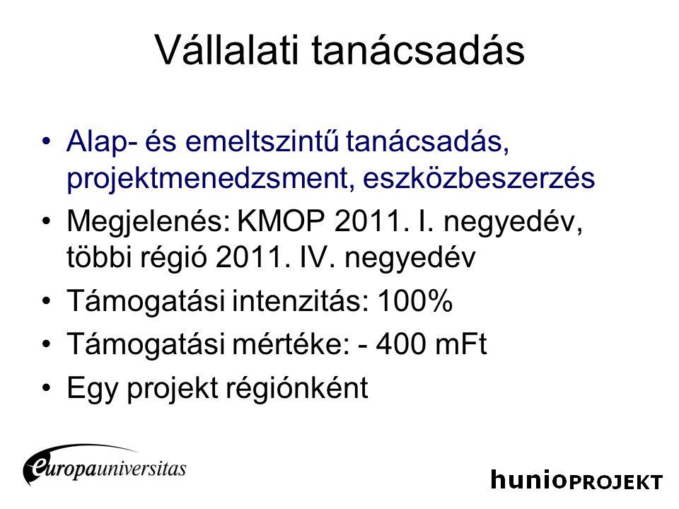 Vállalati tanácsadás Alap- és emeltszintű tanácsadás, projektmenedzsment, eszközbeszerzés Megjelenés: KMOP 2011. I. negyedév, többi régió 2011. IV. ne