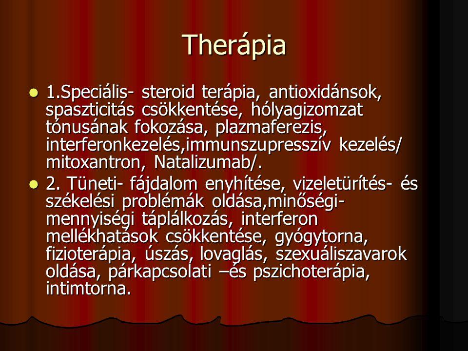Therápia 1.Speciális- steroid terápia, antioxidánsok, spaszticitás csökkentése, hólyagizomzat tónusának fokozása, plazmaferezis, interferonkezelés,imm