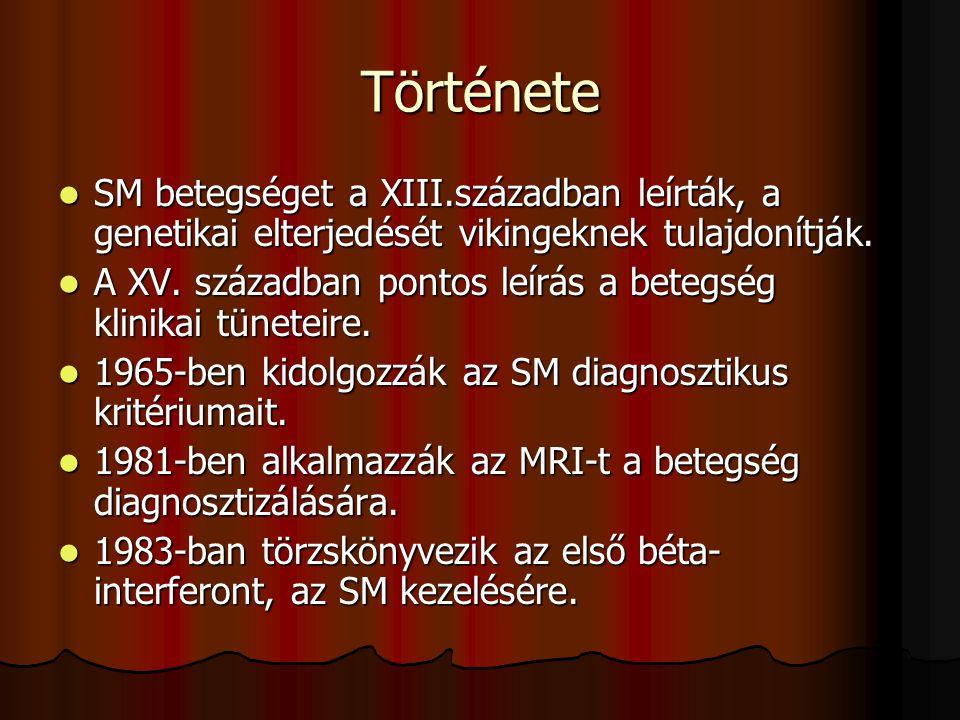 Története SM betegséget a XIII.században leírták, a genetikai elterjedését vikingeknek tulajdonítják. SM betegséget a XIII.században leírták, a geneti