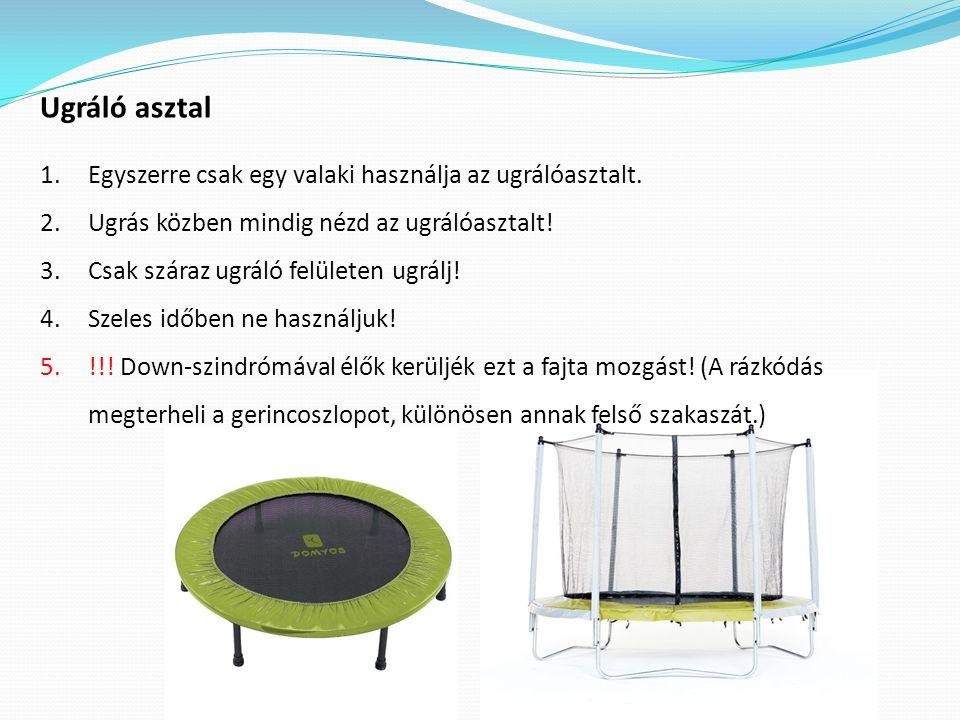 Ugráló asztal 1.Egyszerre csak egy valaki használja az ugrálóasztalt. 2.Ugrás közben mindig nézd az ugrálóasztalt! 3.Csak száraz ugráló felületen ugrá
