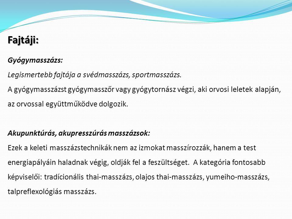 Fajtáji: Gyógymasszázs: Legismertebb fajtája a svédmasszázs, sportmasszázs. A gyógymasszázst gyógymasszőr vagy gyógytornász végzi, aki orvosi leletek