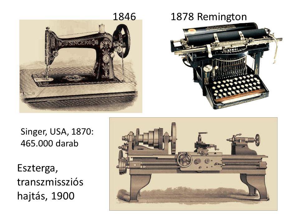 1846 1878 Remington Singer, USA, 1870: 465.000 darab Eszterga, transzmissziós hajtás, 1900