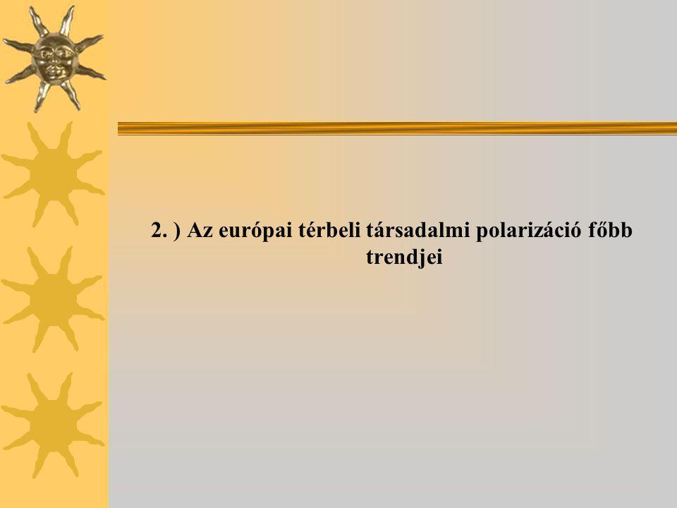 2. ) Az európai térbeli társadalmi polarizáció főbb trendjei