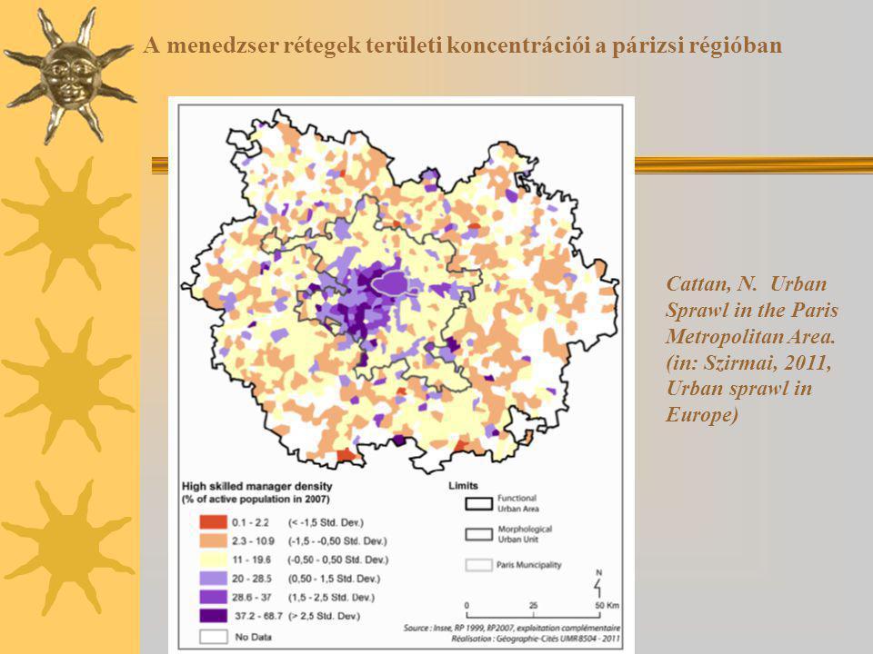 A menedzser rétegek területi koncentrációi a párizsi régióban Cattan, N.