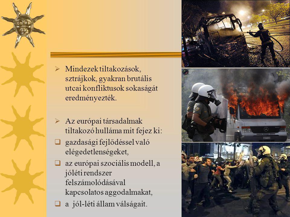  Mindezek tiltakozások, sztrájkok, gyakran brutális utcai konfliktusok sokaságát eredményezték.