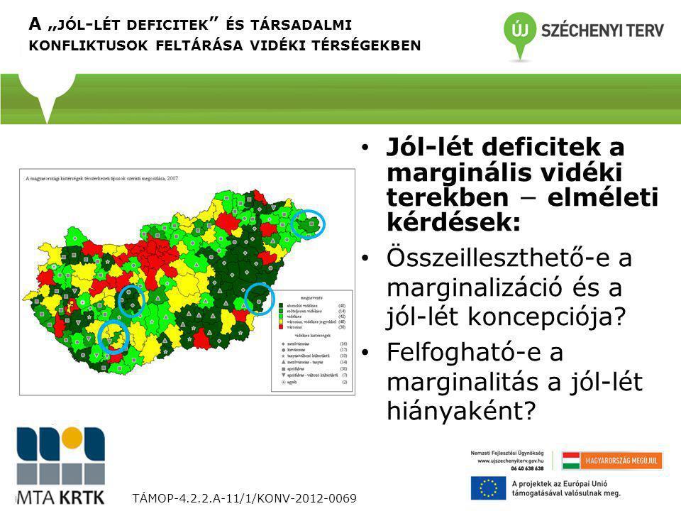 """A """" JÓL - LÉT DEFICITEK ÉS TÁRSADALMI KONFLIKTUSOK FELTÁRÁSA VIDÉKI TÉRSÉGEKBEN TÁMOP-4.2.2.A-11/1/KONV-2012-0069 Jól-lét deficitek a marginális vidéki terekben − elméleti kérdések: Összeilleszthető-e a marginalizáció és a jól-lét koncepciója."""