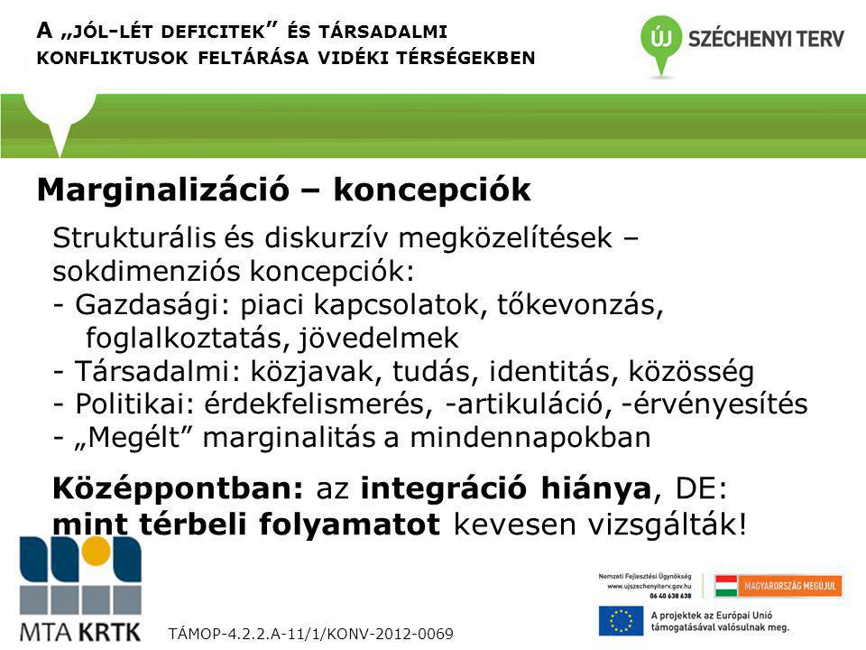 """TÁMOP-4.2.2.A-11/1/KONV-2012-0069 Strukturális és diskurzív megközelítések – sokdimenziós koncepciók: - Gazdasági: piaci kapcsolatok, tőkevonzás, foglalkoztatás, jövedelmek - Társadalmi: közjavak, tudás, identitás, közösség - Politikai: érdekfelismerés, -artikuláció, -érvényesítés - """"Megélt marginalitás a mindennapokban A """" JÓL - LÉT DEFICITEK ÉS TÁRSADALMI KONFLIKTUSOK FELTÁRÁSA VIDÉKI TÉRSÉGEKBEN Marginalizáció – koncepciók Középpontban: az integráció hiánya, DE: mint térbeli folyamatot kevesen vizsgálták!"""