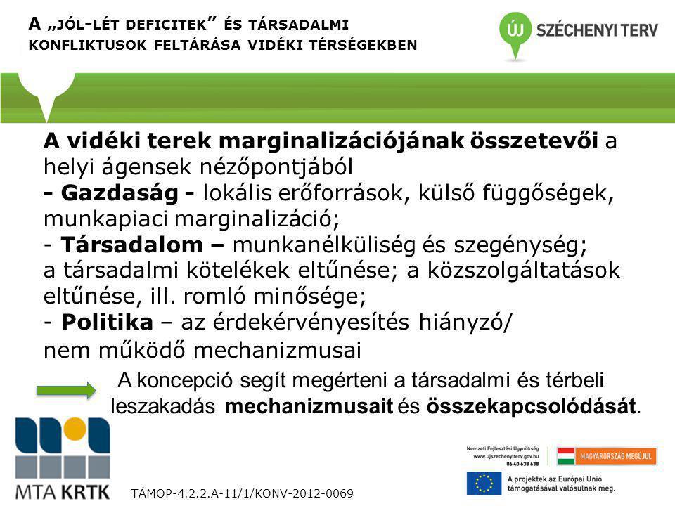 TÁMOP-4.2.2.A-11/1/KONV-2012-0069 A vidéki terek marginalizációjának összetevői a helyi ágensek nézőpontjából - Gazdaság - lokális erőforrások, külső függőségek, munkapiaci marginalizáció; - Társadalom – munkanélküliség és szegénység; a társadalmi kötelékek eltűnése; a közszolgáltatások eltűnése, ill.