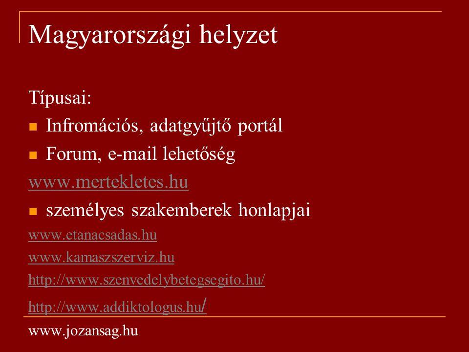 Magyarországi helyzet Típusai: Infromációs, adatgyűjtő portál Forum, e-mail lehetőség www.mertekletes.hu személyes szakemberek honlapjai www.etanacsadas.hu www.kamaszszerviz.hu http://www.szenvedelybetegsegito.hu/ http://www.addiktologus.hu / www.jozansag.hu