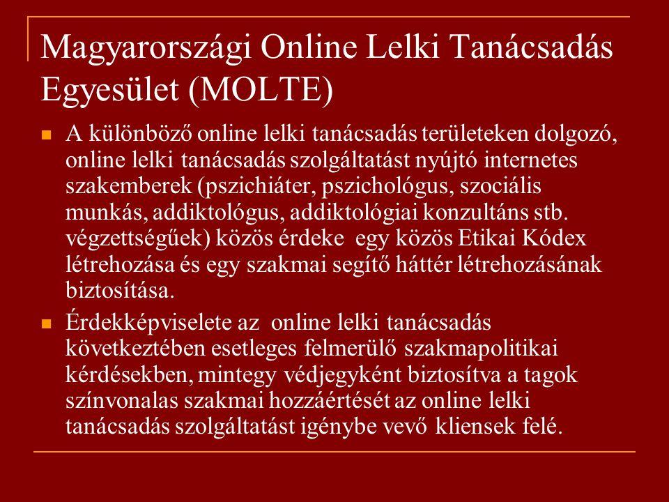 Magyarországi Online Lelki Tanácsadás Egyesület (MOLTE) A különböző online lelki tanácsadás területeken dolgozó, online lelki tanácsadás szolgáltatást nyújtó internetes szakemberek (pszichiáter, pszichológus, szociális munkás, addiktológus, addiktológiai konzultáns stb.