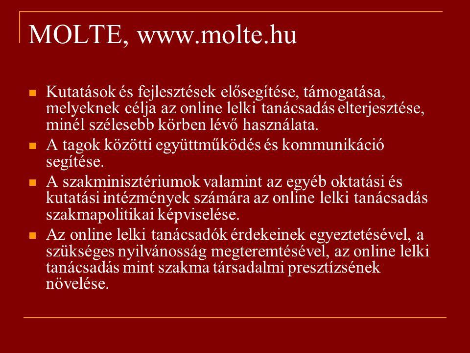 MOLTE, www.molte.hu Kutatások és fejlesztések elősegítése, támogatása, melyeknek célja az online lelki tanácsadás elterjesztése, minél szélesebb körben lévő használata.