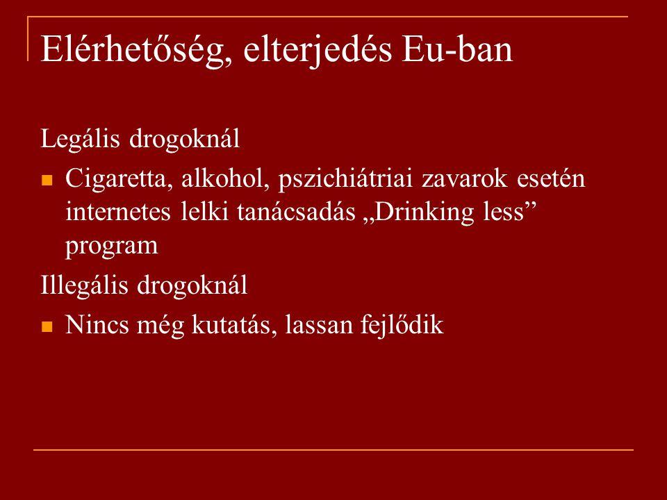 """Elérhetőség, elterjedés Eu-ban Legális drogoknál Cigaretta, alkohol, pszichiátriai zavarok esetén internetes lelki tanácsadás """"Drinking less program Illegális drogoknál Nincs még kutatás, lassan fejlődik"""