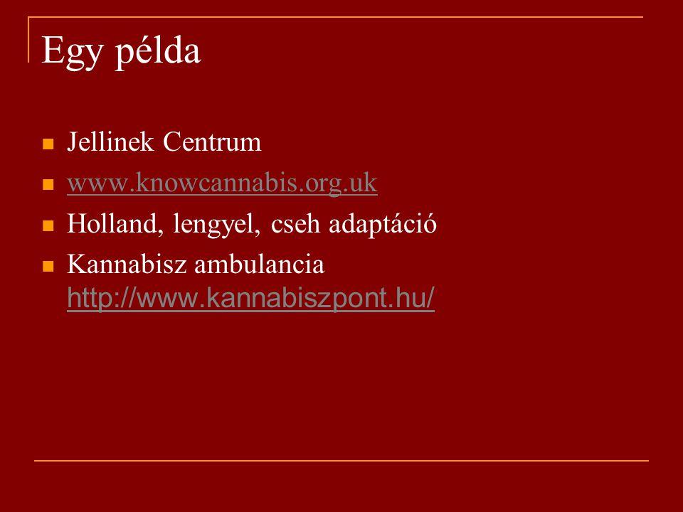 Egy példa Jellinek Centrum www.knowcannabis.org.uk Holland, lengyel, cseh adaptáció Kannabisz ambulancia http://www.kannabiszpont.hu/ http://www.kannabiszpont.hu/