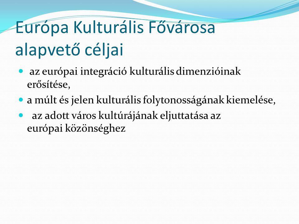 Európa Kulturális Fővárosa alapvető céljai az európai integráció kulturális dimenzióinak erősítése, a múlt és jelen kulturális folytonosságának kiemelése, az adott város kultúrájának eljuttatása az európai közönséghez