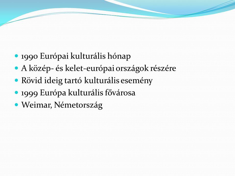 1990 Európai kulturális hónap A közép- és kelet-európai országok részére Rövid ideig tartó kulturális esemény 1999 Európa kulturális fővárosa Weimar, Németország