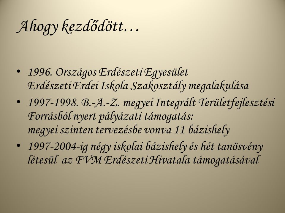 Ahogy kezdődött… 1996.