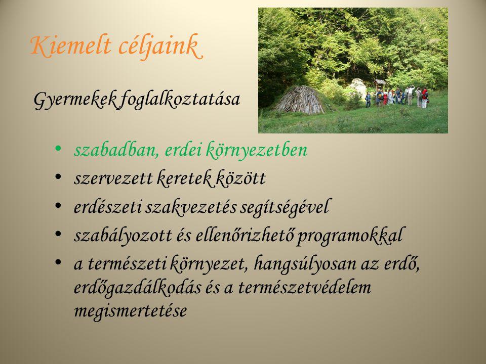 Kiemelt céljaink szabadban, erdei környezetben szervezett keretek között erdészeti szakvezetés segítségével szabályozott és ellenőrizhető programokkal a természeti környezet, hangsúlyosan az erdő, erdőgazdálkodás és a természetvédelem megismertetése Gyermekek foglalkoztatása