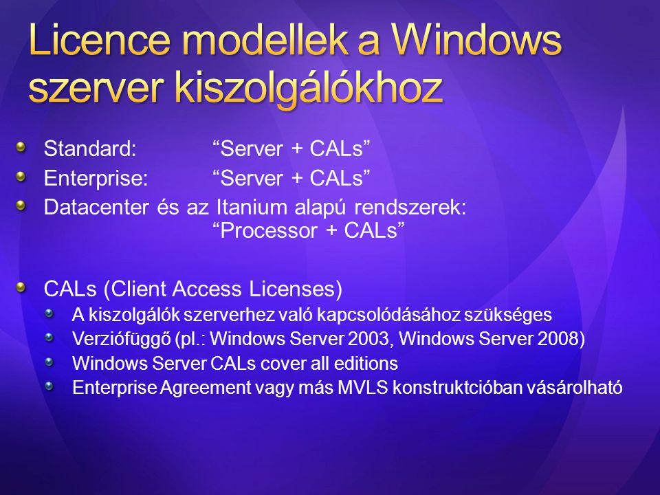 """Standard:""""Server + CALs"""" Enterprise:""""Server + CALs"""" Datacenter és az Itanium alapú rendszerek: """"Processor + CALs"""" CALs (Client Access Licenses) A kisz"""