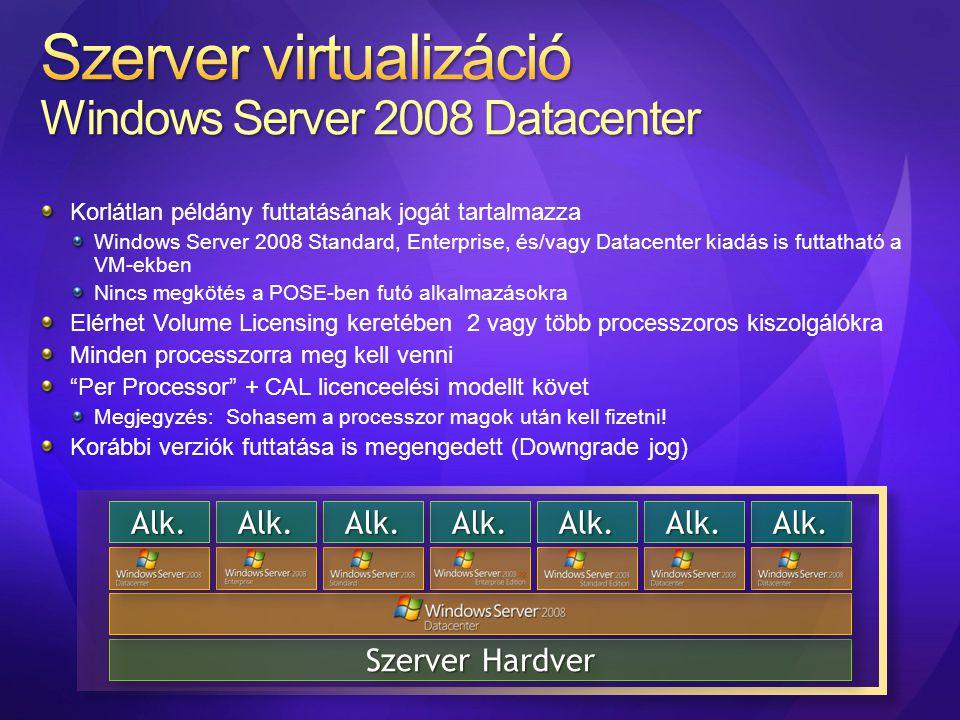 Korlátlan példány futtatásának jogát tartalmazza Windows Server 2008 Standard, Enterprise, és/vagy Datacenter kiadás is futtatható a VM-ekben Nincs me