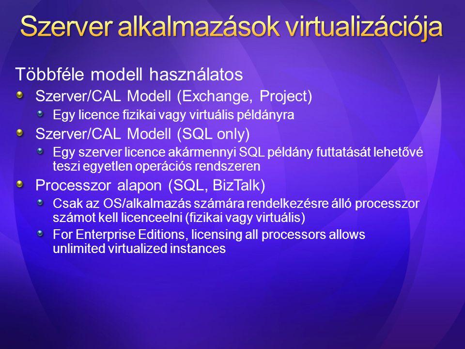 Többféle modell használatos Szerver/CAL Modell (Exchange, Project) Egy licence fizikai vagy virtuális példányra Szerver/CAL Modell (SQL only) Egy szer