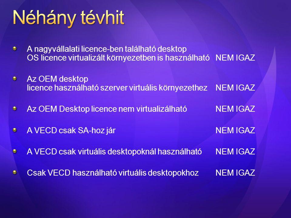 A nagyvállalati licence-ben található desktop OS licence virtualizált környezetben is használható NEM IGAZ Az OEM desktop licence használható szerver