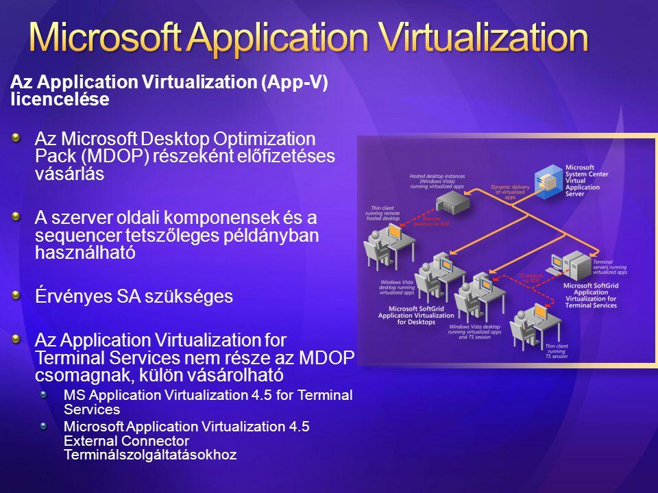 Az Application Virtualization (App-V) licencelése Az Microsoft Desktop Optimization Pack (MDOP) részeként előfizetéses vásárlás A szerver oldali kompo