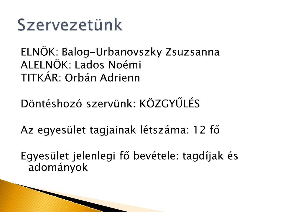 ELNÖK: Balog-Urbanovszky Zsuzsanna ALELNÖK: Lados Noémi TITKÁR: Orbán Adrienn Döntéshozó szervünk: KÖZGYŰLÉS Az egyesület tagjainak létszáma: 12 fő Egyesület jelenlegi fő bevétele: tagdíjak és adományok