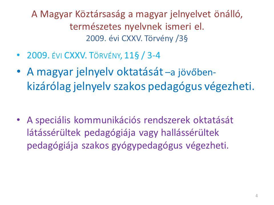 A Magyar Köztársaság a magyar jelnyelvet önálló, természetes nyelvnek ismeri el.