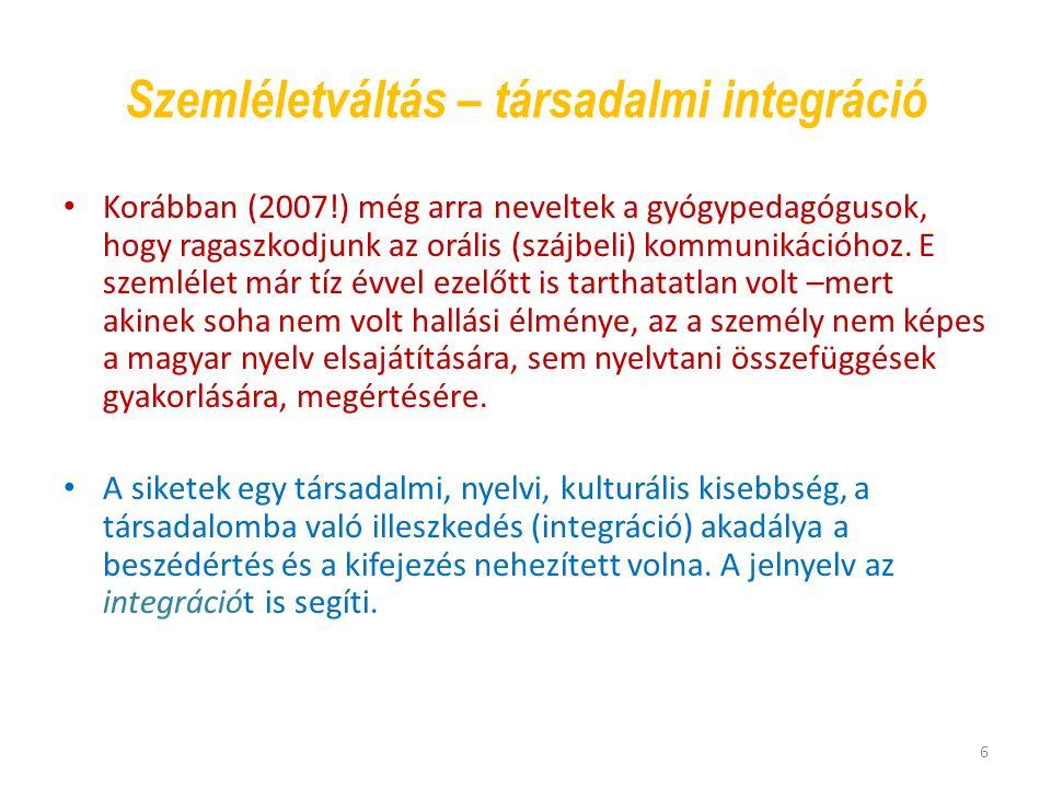 Szemléletváltás – társadalmi integráció Korábban (2007!) még arra neveltek a gyógypedagógusok, hogy ragaszkodjunk az orális (szájbeli) kommunikációhoz.