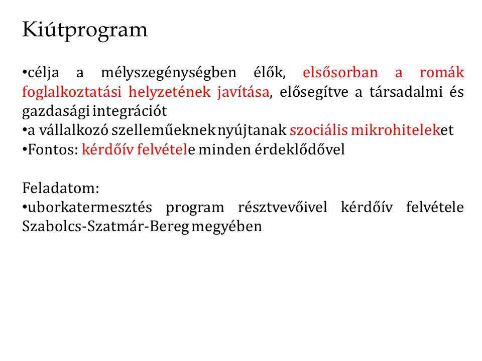 Kiútprogram célja a mélyszegénységben élők, elsősorban a romák foglalkoztatási helyzetének javítása, elősegítve a társadalmi és gazdasági integrációt a vállalkozó szelleműeknek nyújtanak szociális mikrohiteleket Fontos: kérdőív felvétele minden érdeklődővel Feladatom: uborkatermesztés program résztvevőivel kérdőív felvétele Szabolcs-Szatmár-Bereg megyében