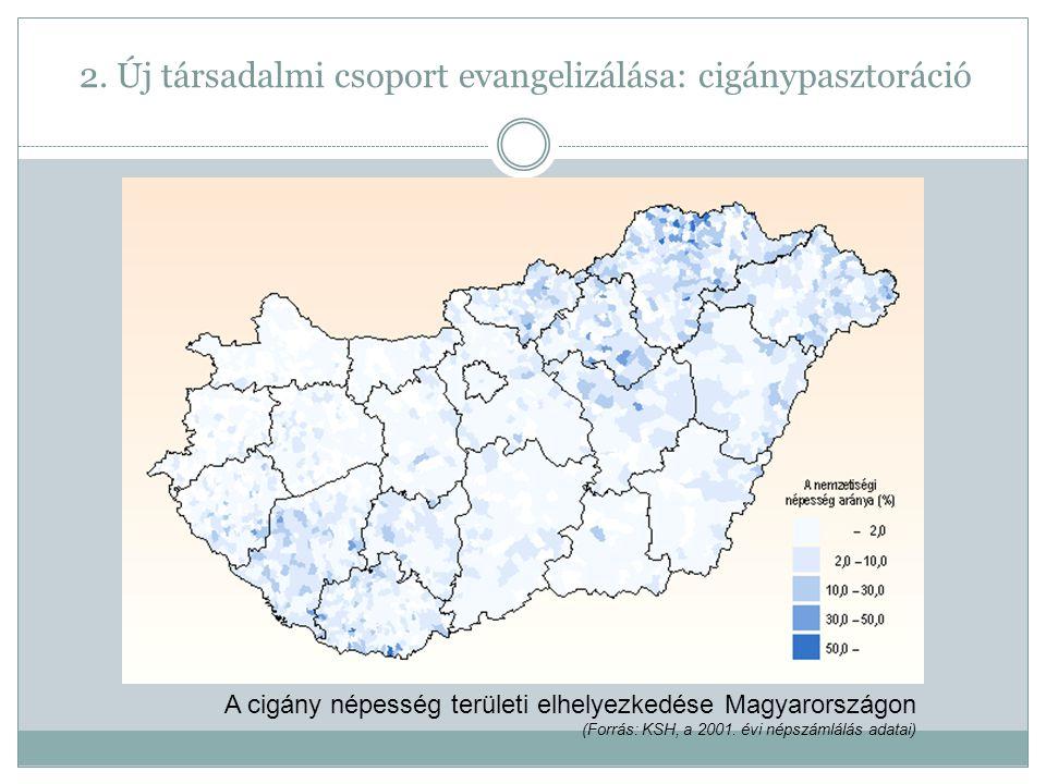 A cigány népesség területi elhelyezkedése Magyarországon (Forrás: KSH, a 2001.