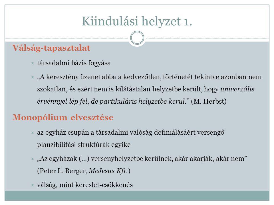 Kiindulási helyzet 2.Életvilágok pluralizációja (vs.